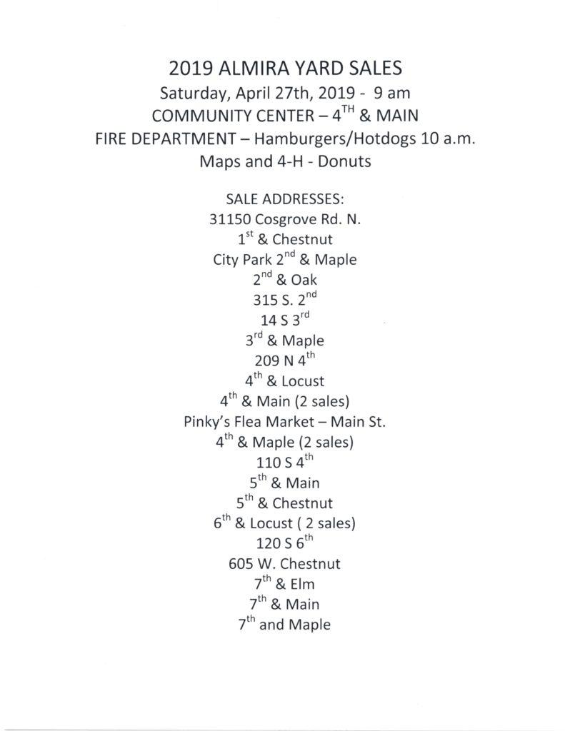 Community Wide Yard Sale (April 27, 2019) | Town of Almira Washington
